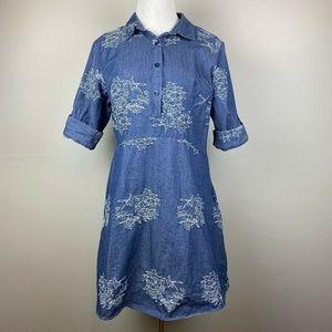 Nina Leonard 10 Dress Mini Denim Floral Blue